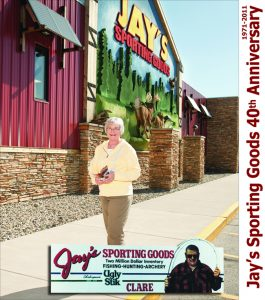 Arlene co-owner of Jay's standing in front of the staple store in Clare